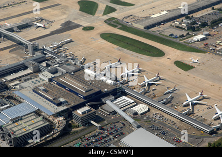 Aerial view Gatwick airport - England - Stock Photo