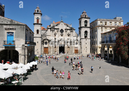 Havana. Cuba. Habana Vieja / Old Havana. Catedral de La Habana, Plaza de la Catedral. - Stock Photo