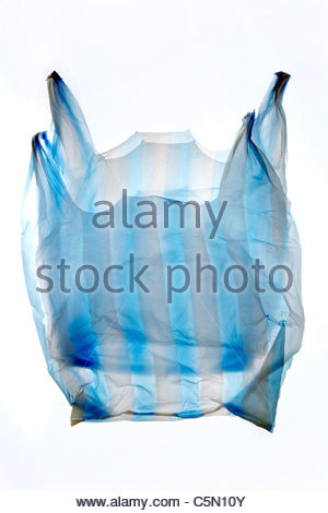 double layered thin plastic grocery bag - Stock Photo