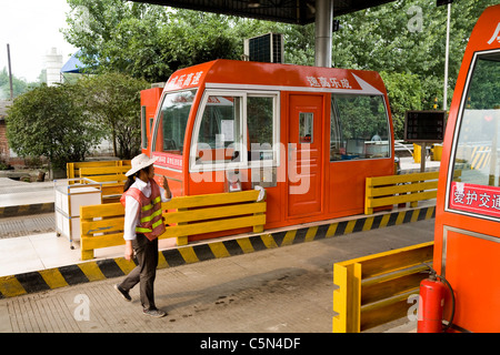 Road / car toll booth near Beijing in China. - Stock Photo
