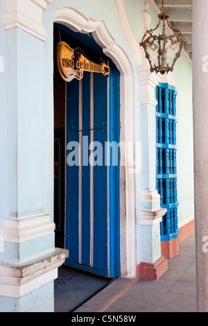 Cuba, Trinidad. Entrance to Casa de la Trova, a bar-restaurant. - Stock Photo