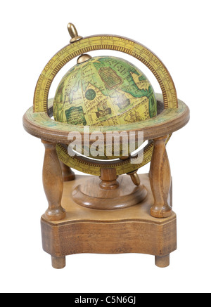 Old world wooden globe with basic navigation notations on a stand - path included - Stock Photo