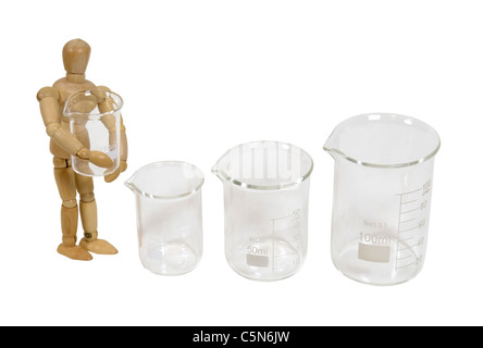 Holding a glass beaker used to measure and store liquids during research projects - path included - Stock Photo