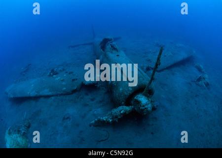 Wreck of Airplane Zero, Kimbe Bay, New Britain, Papua New Guinea - Stock Photo