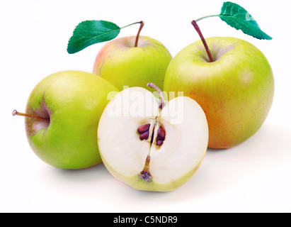 green apples isolated on the white background - Stock Photo