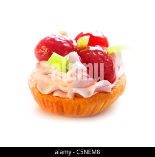 Cake with strawberries and kiwi isolated on a white background - Stock Photo