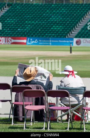 A very English scene at Cheltenham's cricket ground, Gloucestershire, UK. - Stock Photo