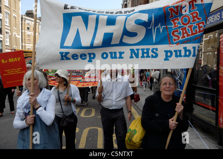 NHS WORKERS IN DEMONSTRATION AGAINST PUBLIC SPENDING CUTS - Stock Photo