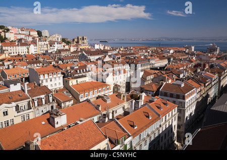 Lisbon rooftops and Tejo River viewed from Santa Justa Lift, Portugal - Stock Photo