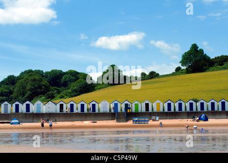 beach huts broadsands,Broadsands beach,Beachhuts and green fields, BOATS, BLUE, SEA, SKY, SEASIDE, SCENE, SEASHORE, - Stock Photo