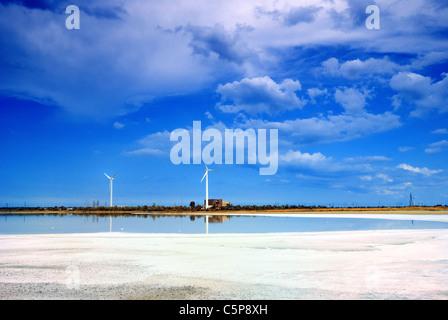 Wind turbines at the edge of brine lake, Crimea, Ukraine - Stock Photo