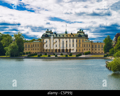 Lake Maelaren overlooking the residence of the Swedish royal family castle Drottningholm, Stockholm County, Sweden, - Stock Photo