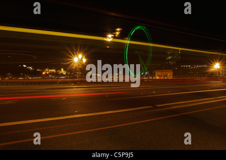 Light trails on Westminster Bridge, London, UK - Stock Photo