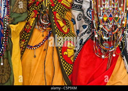 Close-up of Masai women wearing traditional dress, in a village near the Masai Mara, Kenya, Africa - Stock Photo