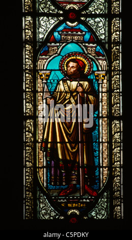 Monaco Cathedrale Notre-Dame-Immaculee Stained Glass Window Depicting Saint Benezet 1163- 1184 - Stock Photo