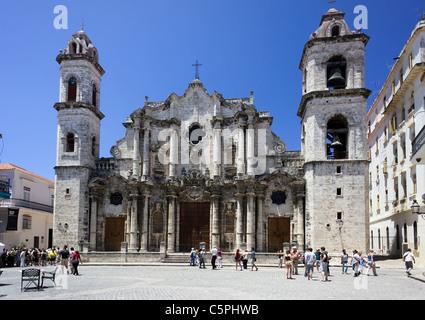 Cathedral of Havana, Cuba. The Catedral de la Virgen María de la Concepción Inmaculada de La Habana. - Stock Photo