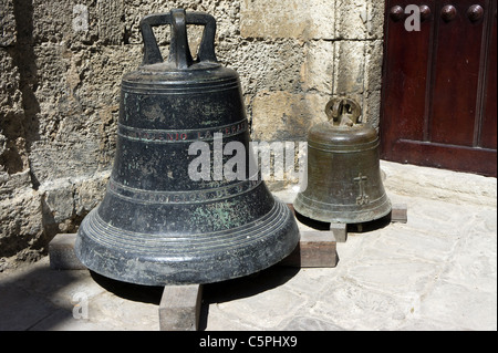 Bells outside the entrance to the basilica and the monastery of San Francisco de Asis (Saint Francis of Assisi), - Stock Photo