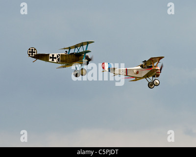Vintage tri-plane Fokker Dreidecker and a Nieuport 17 bi-plane N 1977 from the first World war - Stock Photo