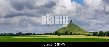 The Lion Hill, which is the main memorial monument of the Battle of Waterloo, Eigenbrakel, Belgium - Stock Photo