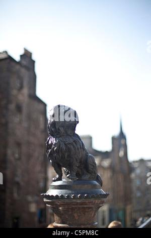 Greyfriars Bobby statue, George IV Bridge, Edinburgh, Scotland - Stock Photo