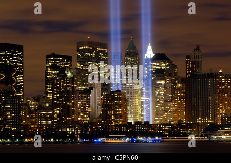 The 'Tribute in Light' memorial is in remembrance of the events of Sept. 11, 2001. - Stock Photo