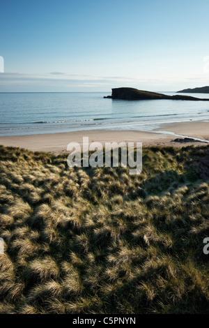 Sand dunes and marram grass beside Oldshoremore beach, near Kinlochbervie, Sutherland, Highland, Scotland, UK. - Stock Photo