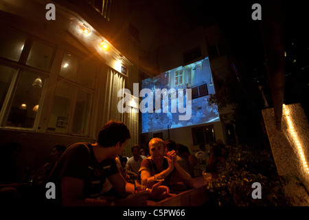 People sitting in a restaurant Cafe in Rothschild street Tel Aviv, Israel - Stock Photo