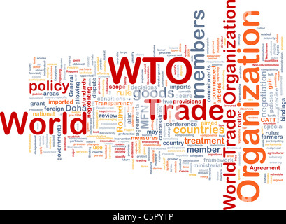 Background concept wordcloud illustration of world trade organization - Stock Photo