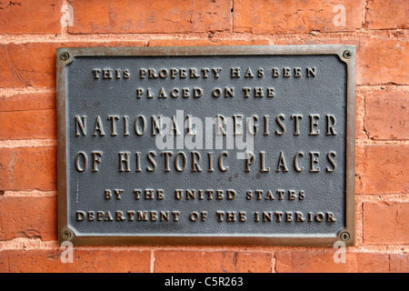 national register of historic places plaque sign in Nashville Tennessee USA - Stock Photo