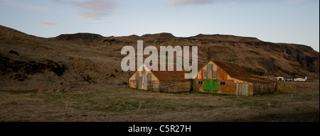 Corrugated iron huts in Iceland - Stock Photo