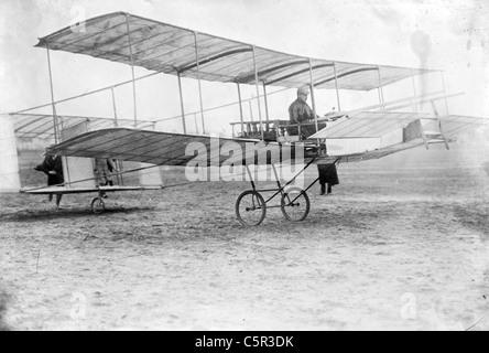 Delagrange in his aeroplane, Leon Delagrange - Stock Photo