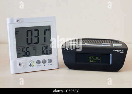 DAB digital alarm clock radio and Owl wireless LED electricity monitor showing kilowatts of electricity being used - Stock Photo