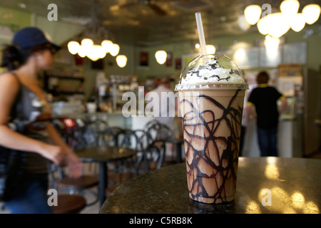 frozen cappuccino coffee in a cafe ice cream parlour Nashville Tennessee USA - Stock Photo