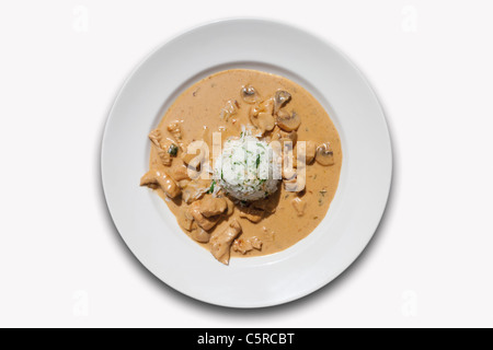 Close up of turkey meat with mushroom and boiled rice against white background - Stock Photo