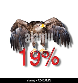 Federeal Eagle sitting on red 19 percent sign, symbol - Stock Photo