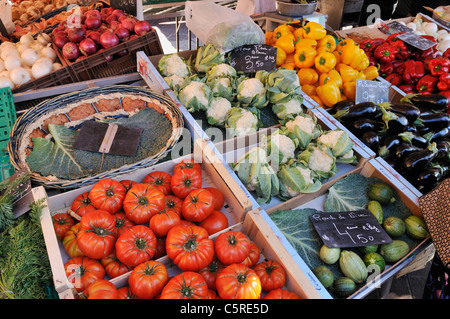 Europe, France, Provence, Alpes Maritimes, Cote d'Azur, Nice, Various fresh vegetables on market stall - Stock Photo