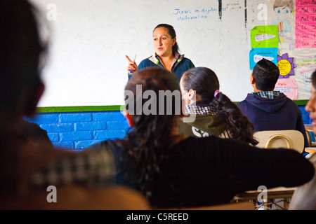 Middle School in Canton Las Pilas, San Ignacio, Chaltenango Department, El Salvador - Stock Photo