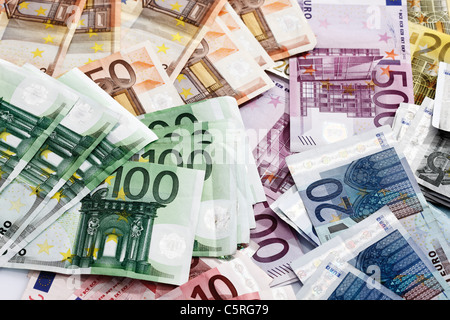Various Euro bank notes, elevated view - Stock Photo