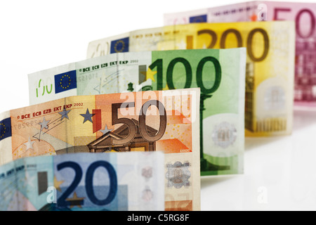 Various Euro bank notes in a row, close-up - Stock Photo