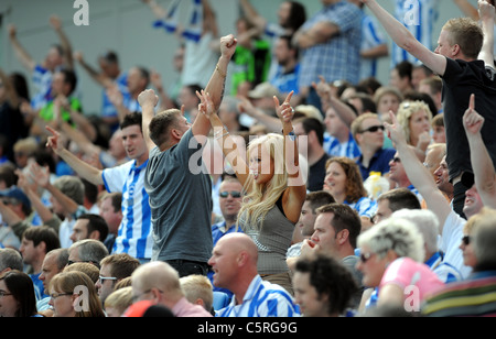 Brighton and Hove Albion football fans in the new American Express Community Stadium or Amex Stadium as it is known - Stock Photo