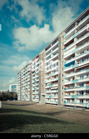 Prefab apartment building in the retro style of the 70s and 80s, housing estate, social housing, symmetry, settlement, - Stock Photo