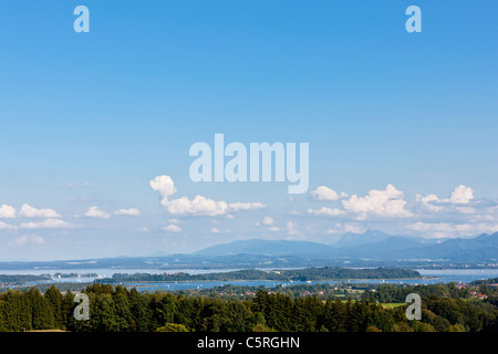 Germany, Bavaria, Chiemgau Alps, Herrenchiemsee, Chiemsee, View of island and freshwater lake - Stock Photo