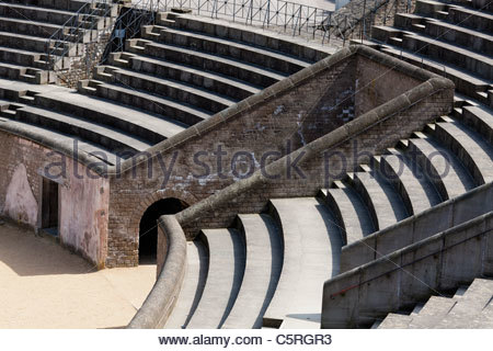 Europe Germany North Rhine-Westphalia Xanten Colonia Ulpia Traiana Reconstruction of amphitheater archaeological - Stock Photo