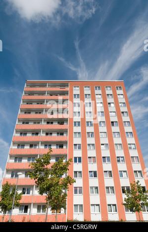 Prefab apartment building, housing estate, social housing, symmetry, settlement, Jena, Thu - Stock Photo