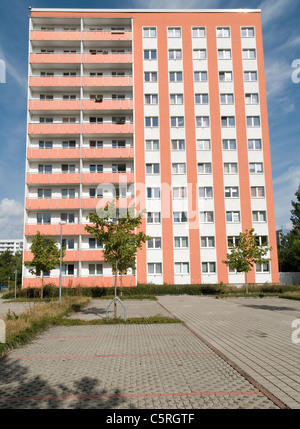 Plattenbau, pre-fabricated concrete building, social housing, residential estate, Jena, Thuringia, Germany, Europe - Stock Photo