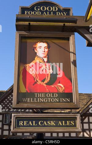 Old Wellington Pub Sign, Manchester, England - Stock Photo