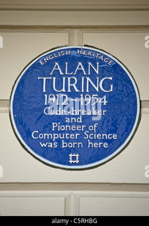 english heritage blue plaque marking the birthplace of mathematician, codebreaker and computer pioneer, alan turing - Stock Photo