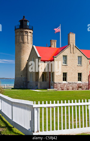 The historic Old Mackinac Point Lighthouse in Mackinaw City, Michigan, USA. - Stock Photo