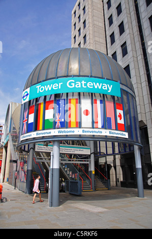 Entrance to DLR Tower Gateway Station, Tower Hill, London City, Greater London, England, United Kingdom - Stock Photo