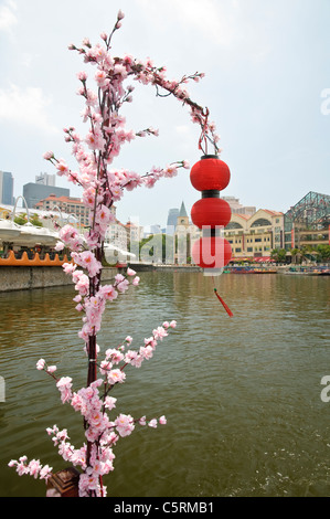 Red lanterns and flowers found on a boat trip along Singapore River at the popular and trendy Clarke Quay district, - Stock Photo